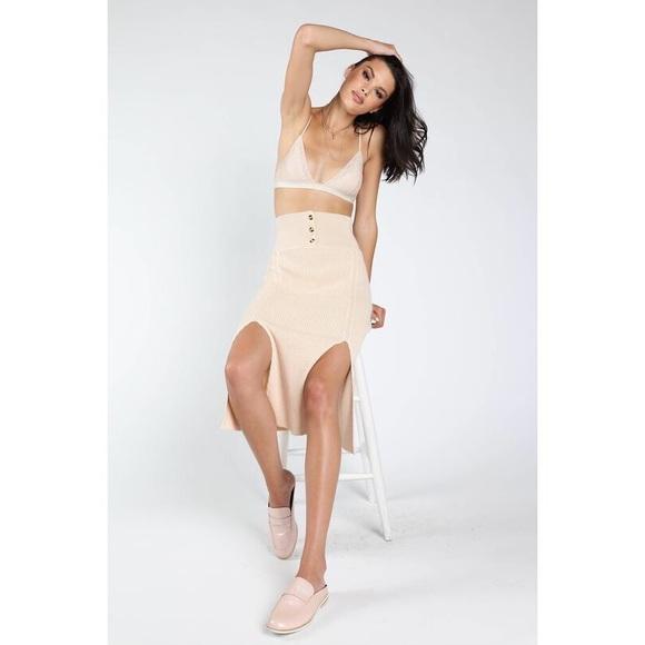Honey Punch Dresses & Skirts - Honey Punch Knit Midi Skirt Front Slits